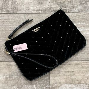 Victoria's Secret NWT Black & Gold Velvet Wristlet